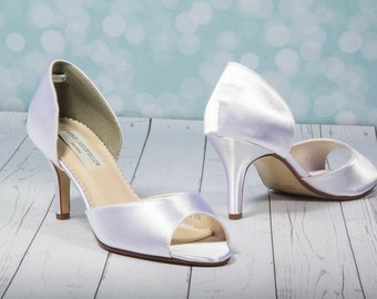Wedding Shoe - White Wedding Shoes - Dyeable - Choose From Over 100 Colors - Heel Is 2.5 Inches -  Crystal - Bridal - Peep Toe - By Parisxox
