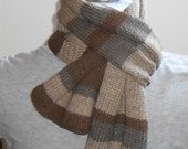 Knitted Scarf, Brown Gray Stripes Hand Knit Scarves, Unisex Accessories, Merino Wool Lightweight Scarves, Handmade Gifts,