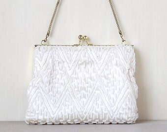White as Snow - Vintage Pure White Beaded Clutch Coin Purse  - cute vintage accessory