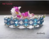 Beaded Bracelet Tutorial Pattern - Dainty Blue Superduo Bracelet (BB175) - Beading Jewelry PDF Tuorial (Instant Download)
