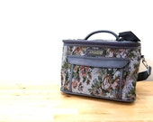 Vintage Jordache Bag / Floral Tapestry Bag / Carry On Luggage / Overnight Bag / Grey Travel Case / Cosmetic Case