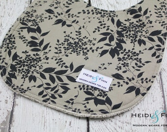 baby bib Organic Floral black taupe  ready to ship only 2 available