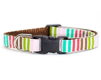 "Cat Collar - ""The Good Intentions"" - Multi-Colored Stripes"