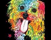 Womans Short Sleeve Blacklight Top New Shih Tzu T Shirt Neon Florescent Dog Print Womans Top Free Shipping to USA19051NBT4