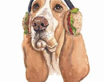 Original Dog Watercolor Painting - 8x10 Dog Watercolour, Basset Hound, Dog Illustration, Animal Art