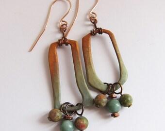 Mismatched bohemian dangle earrings One of a kind artisan bronze art jewelry Organic gypsy earrings