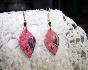 Painted Handmade African Earrings Vintage Pink Purple Animal Ethnic Nature Art Deco Tribal Wildlife
