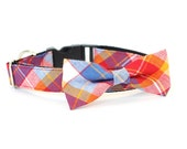 New Color! Corona Heights Plaid, Designer dog collars, Bow Tie Dog and Cat Collar Bow Tie Dog Wedding- Dog Collar, Wedding Dog Collar