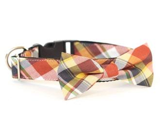 New Color! Presidio Plaid, Designer dog collars, Bow Tie Dog and Cat Collar Bow Tie Dog Wedding- Dog Collar, Wedding Dog Collar