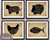 Cow, Pig, Chicken and Tuna (series D) Butcher Diagram Series - Set of 4 Art Prints (Featured in Black animal on Cork Board)