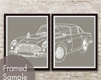 1964 Aston Martin DB5 Vintage Car - Set of 2 Art Prints (featured in Gravel) Classic Vintage Dream Car Poster Art