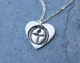 Flame in the Chalice Necklace - Unitarian Universalist handmade fine silver heart charm - delicate sterling silver chain- free shipping USA
