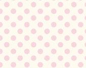 SALE 1/2 yard Medium baby pink Dot on Cream basics by Riley Blake