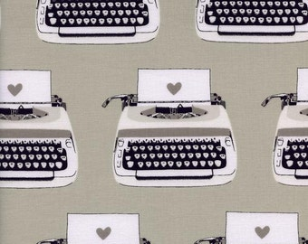 Sale Typewriters fabric from the Black and white collection by Cotton + Steel