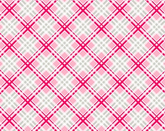 SALE coral and grey picnic plaid from the FOG City Kitty collection by Pam Kitty Morning for Lakehouse drygoods