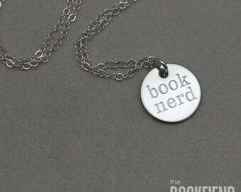 book nerd round engraved charm necklace
