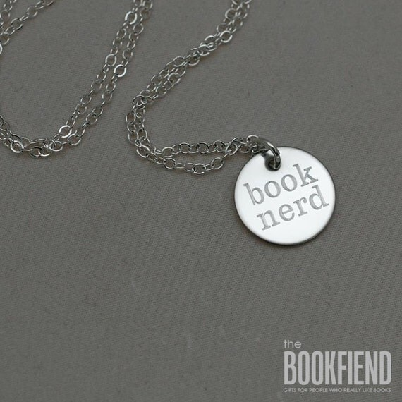 book nerd round engraved charm necklace