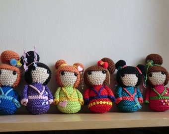 Geisha girls amigurumi crochet pattern