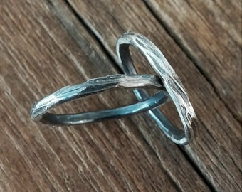 Ring Wood Grain Copper Band Ring, Sterling Silver Ring, Stackable Ring, Thin Silver Ring, Womens and Mens Copper Ring