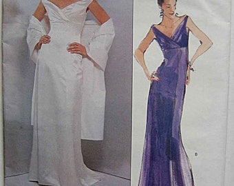 Badgley Mischka Misses' Elegant Sleeveless Evening Gown Dress and Shawl Vogue 2134 Sewing Pattern UNCUT Sizes 6-8-10