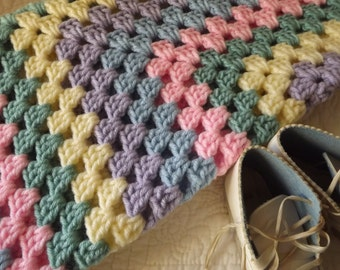 Crocheted Classic Style Granny Square Baby Blanket Green Pink Blue Yellow Purple