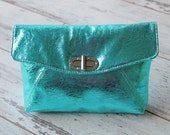 Turquoise Metallic Italian Leather Clutch. Teal Leather Clutch. Medium Size Hand Bag. Evening Purse. November Cutch. FREE SHIPPING