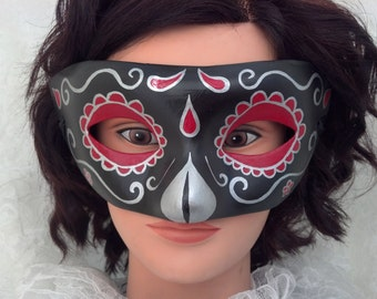 Black, Silver, and Red Day of the Dead Handpainted Paper Mache Mask
