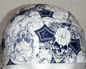 White Skull or Chemo Cap with Blue Skulls, Crosses, Knives, Men, Women,Bald, Hair Loss, Head Wrap, Motorcycle, Biker, Helmet Liner, Hat