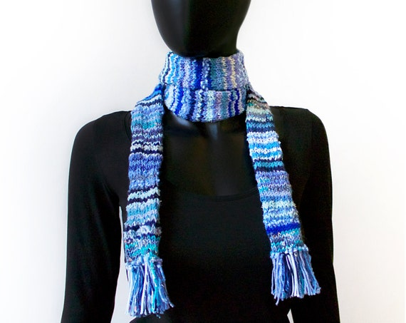 Vapour Trails Eco Scarf - Blue Scarf made from Upcycled Scraps of Yarn - Eco-friendly Upcycled Scarf
