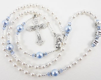Tiny White and Blue Pearl Personalized Baptism Rosary for a Baby Boy