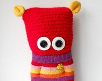 sale, crocheted monster, plush monster doll, red monster, toy monster,cute monster, sock monster,rainbow monster, plushie monster
