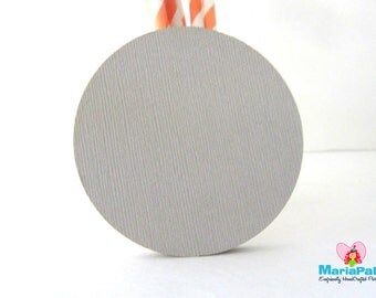 24 Circle Die Cuts. Light Grey, Regular Circle, Die cut (3.0 Inches) Textured Cardstock A1107
