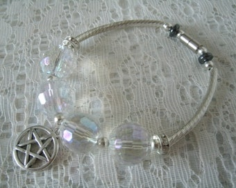 Crystal Pentacle Bracelet, wiccan jewelry pagan jewelry wicca jewelry witch metaphysical goddess magic witchcraft pentagram handfasting