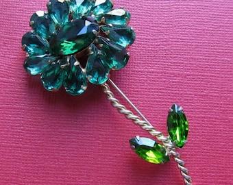 Vintage Weiss Green Rhinestone Flower Brooch Pin Circa 1950
