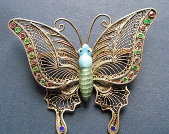 Chinese Silver Filigree Enamel Vintage Butterfly Pin Brooch Jewelry