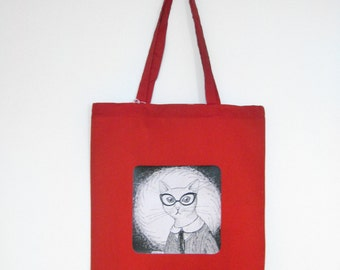 Red bag with a white cat in glasses illustration