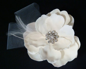 Ivory champagne hair flower with tulle and feathers rhinestone / ivory hair flower champagne bridal flower clip