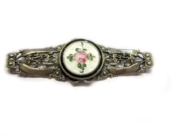 Guilloche Enameled Brooch Vintage Rose Flower Pin 3""
