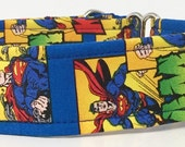 Comic Superman Adjustable Martingale Dog Collar - Made to Order -