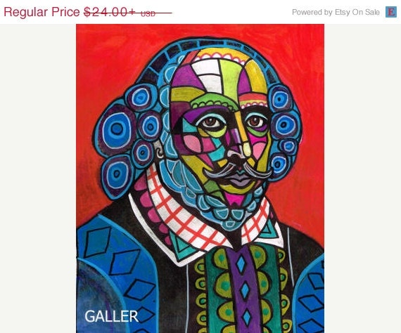 50% OFF - SALE ENDING - Shakespeare Art Poster Print of Painting by Heather Galler Abstract Author Writer Play