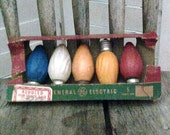 Vintage Antique General Electric C9 Light Colored Christmas Tree Lightbulbs in Original Box