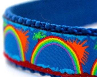 Tropical Rainbow Dog Collar, Adjustable Dog Collar, Ribbon Dog Collar, Island, Royal Blue, Beach