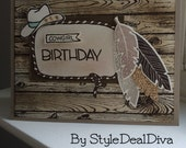 Feathered Cowgirl Birthday Card
