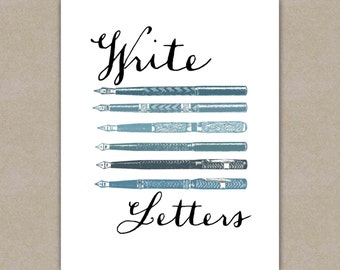Letter Writing Inspiration, Write Letters Art Print, Calligraphy Pens