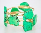 Gemstone Bangle- Green Turquoise and Gold Wire