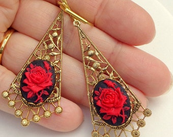 PS, SALE, Rose Cameo Earrings, Dangling Red Roses, Gold Filigree, Valentine Earrings, Edwardian Fantasy, OOAK