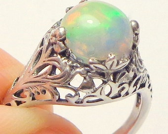 Sz6.75,Welo Opal Ring,Sterling Silver Ring,Ethiopian,Semi-transparent,Pastel Color Play,Lavender,Blue,Green,Peach,Yellow,Ornate Ring OOAK