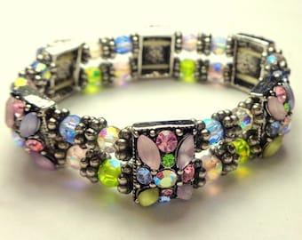 SALE, Fairy Garden Bracelet, Spring Time Crystal Flowers, Stretch Bracelet, Victorian Style, Edwardian Fantasy