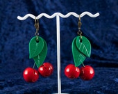 Red Cherry Earrings, Large, Faux 1940s, Vintage Bakelite Inspired Reproduction, Polymer Clay, Bold Dramatic, Rockabilly Pin Up, Pierced
