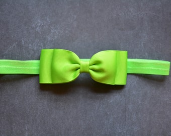 Lime Green Bow Headband. Lime Green Baby Headband. Baby Hair Accessories. Baby Headband. Girls Hair Accessories. Baby Girls Hair Accessories